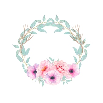 Guirnalda redonda pintada a mano de acuarela con anémona de peonía rosa flor y hojas verdes aisladas en blanco