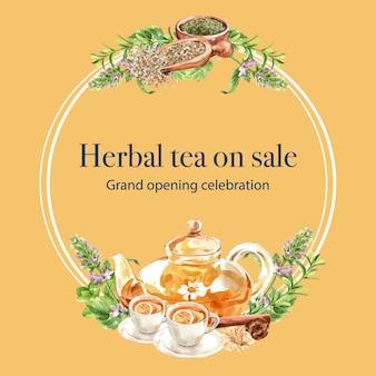 Guirnalda de té de hierbas con hojas, tomillo, melissa, ilustración acuarela de limón.