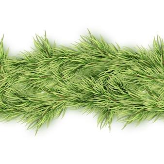 Guirnalda transparente de navidad de ramas de abeto.