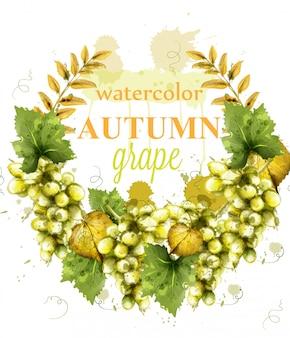 Guirnalda de uvas blancas acuarela tarjeta
