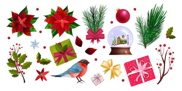 Guirnalda de vacaciones de navidad con hojas rojas de poinsettia, ramas de abeto, bayas. marco estacional de invierno de navidad aislado en blanco con plantas de hoja perenne. guirnalda festiva navideña con polígono dorado.