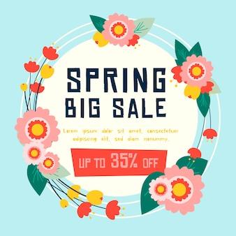 Guirnalda de venta de primavera plana con flores y hojas