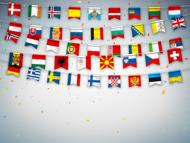 Guirnaldas de banderas de diferentes paises de europa