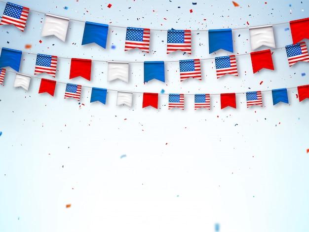 Guirnaldas de banderas de estados unidos. banner para celebrar