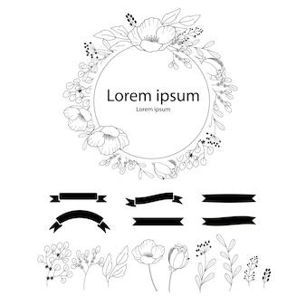 Guirnaldas de boda. elemento lbotanical dibujado mano, diseño para la invitación, la boda o las tarjetas de felicitación