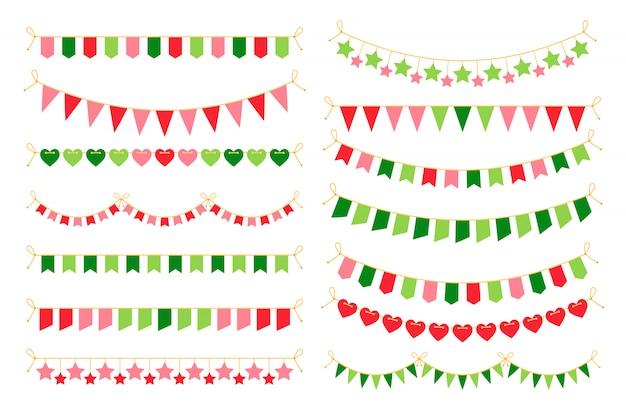 Guirnaldas de colores con banderas