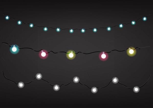 Guirnaldas de colores sobre fondo oscuro. clipart vectorial