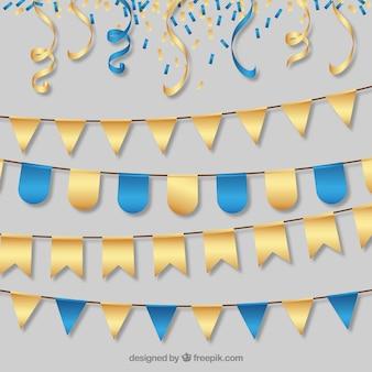 Guirnaldas elegantes de fiesta doradas y azules