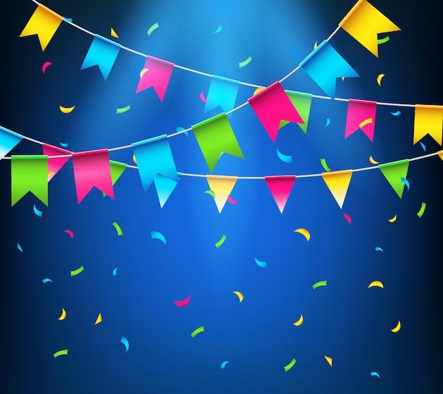 Guirnaldas de empavesados brillantes multicolores, banderas de fiesta con confeti