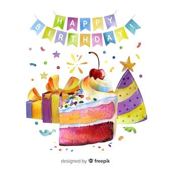 Guirnaldas de feliz cumpleaños con pastel y regalos