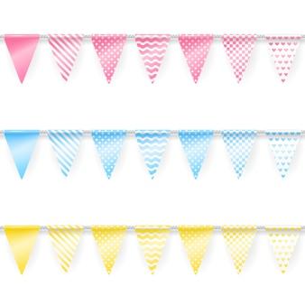 Guirnaldas de fiesta. conjunto de banderas sin costuras de banderas triangulares