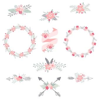 Guirnaldas, flechas y cintas con flores, ilustración dibujado a mano. elementos decorativos de invitación y tarjeta de boda