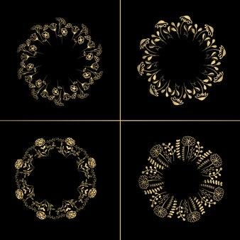 Guirnaldas florales de oro 4 en 1