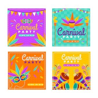 Guirnaldas y máscaras carnaval instagram post collection
