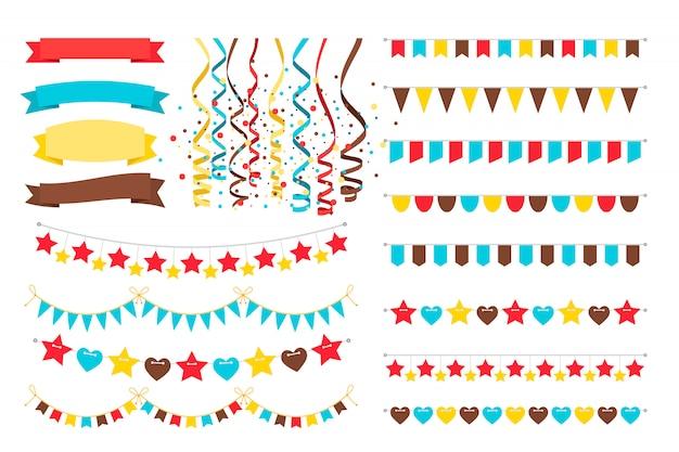 Guirnaldas multicolores, banderas de adorno en cuerdas y banderín brillante para tarjeta de invitación