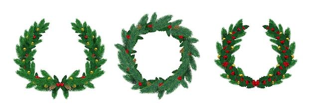 Guirnaldas naturales realistas feliz navidad con ramas de pino. corona de abeto verde decorada con hojas de acebo, bayas rojas y bolas vector set. corona de celebración realista con ilustración de guirnalda