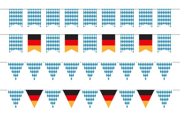 Guirnaldas de oktoberfest. banderas del empavesado de oktoberfest. conjunto de banners bávaros y alemanes. ilustración oktoberfest festival bávaro y alemán, celebración fiesta tradicional de la cerveza