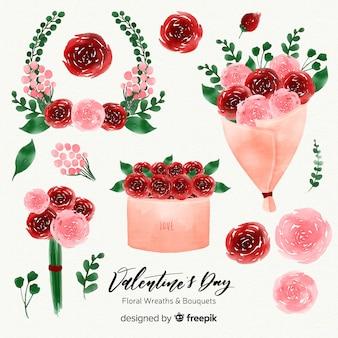 Guirnaldas y ramos de flores de san valentín en acaurela