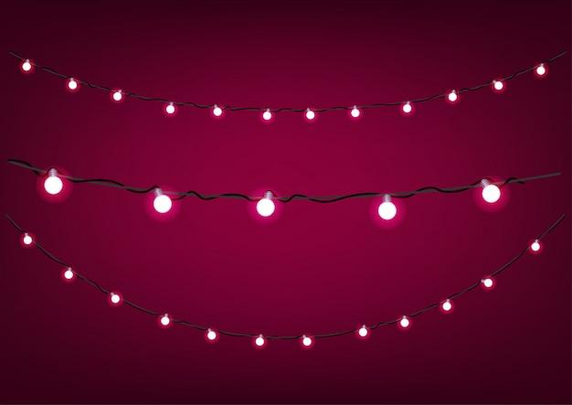Guirnaldas rojas sobre fondo oscuro. clipart vectorial