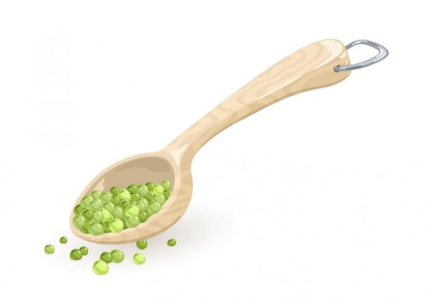 Los guisantes verdes se encuentran en cuchara medidora de madera o plástico, cuchara, cucharón, achicador con anillo en d metálico colgado. ilustración de dibujos animados en blanco para libros de cocina, recetas, etiquetas de mercado o tienda.