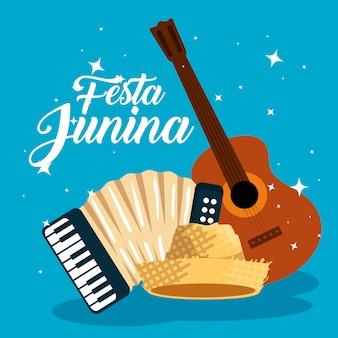 Guitarra con acordeón y sombrero para festa junina