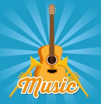 Guitarra acústica y trompetas instrumentos etiqueta