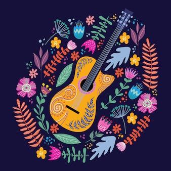 Guitarra aislada y brillantes hojas tropicales y flores. vector de garabatos planos populares de dibujo a mano