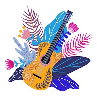 Guitarra aislada y brillantes hojas tropicales