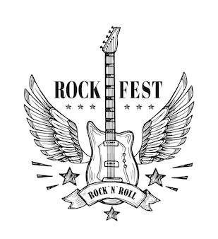 Guitarra con alas. cartel vintage del festival de música