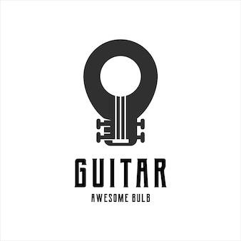 Guitarra con bombilla logo retro vintage