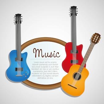 Guitarra eléctrica y acústica de fondo en blanco