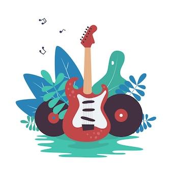 Guitarra eléctrica, discos de vinilo y naturaleza Vector Premium