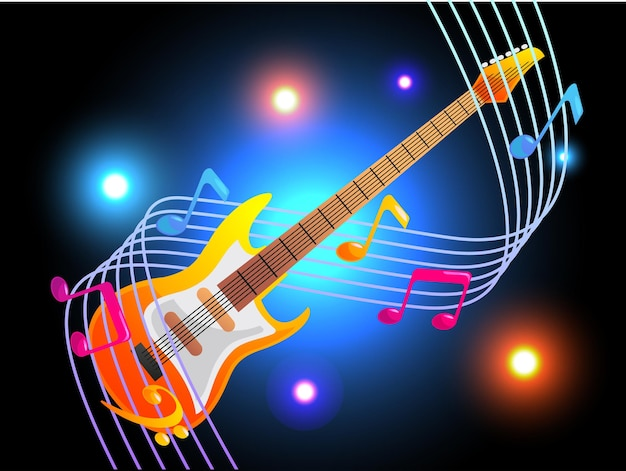 Guitarra eléctrica con elegantes notas musicales.