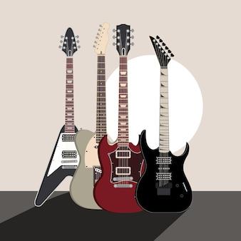 Guitarra electrica instrumentos musicales sonido concierto ilustración