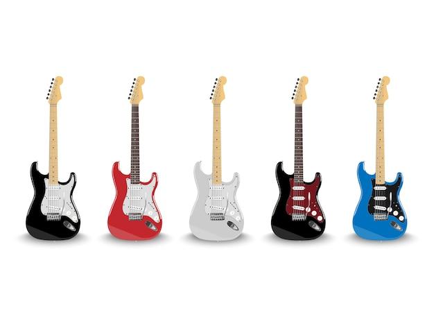 Guitarra eléctrica realista en diferentes colores aislado sobre fondo blanco.