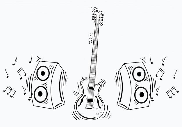 Guitarra eléctrica con sistema acústico. ilustración de una guitarra con notas y sonido.