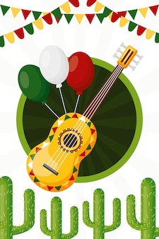 Guitarra y globos de la cultura mexicana, ilustración