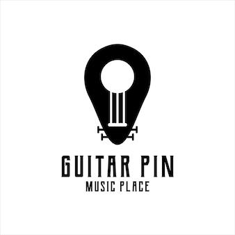 Guitarra lugar logo vintage ilustración retro