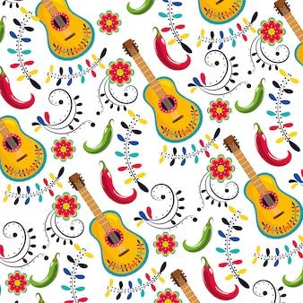 Guitarra mexicana con fondo de decoración de flores.