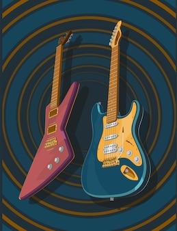 Guitarras eléctricas de colores realistas en 3d muy precisas. modelo 3d de la ilustración de guitarras. pancarta, póster, imagen de estilo vintage.