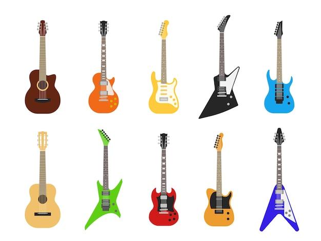 Guitarras. instrumentos musicales de guitarra acústica y eléctrica para entretenimiento. juego de guitarra eléctrica vintage
