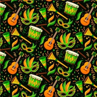 Guitarras y máscaras diseño plano de patrón de carnaval brasileño