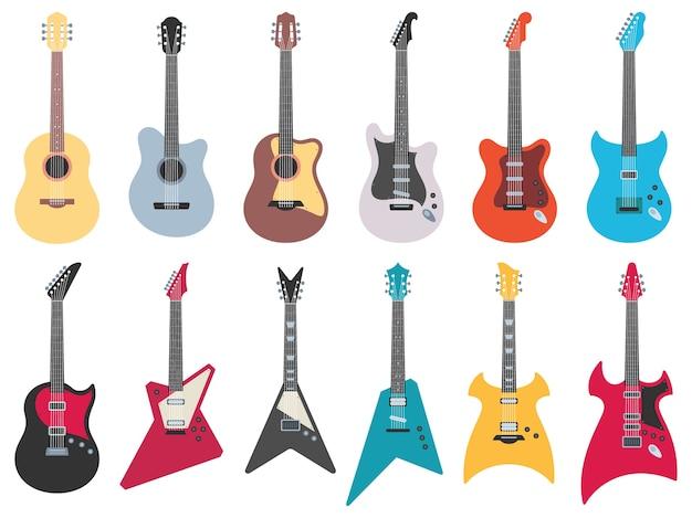 Guitarras planas. guitarra eléctrica de rock, jazz acústico e instrumentos musicales de cuerdas de metal.