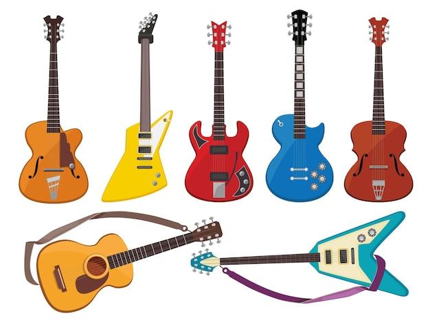 Guitarras sonido de música toca instrumentos clásicos de colección de guitarras acústicas y rock.
