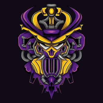 Gundam con ilustración de cabeza de samurai