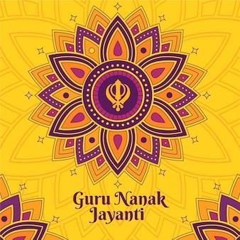 Gurú indio del diseño plano nanak jayanti floral