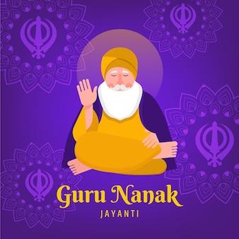 Guru nanak jayanti en diseño plano