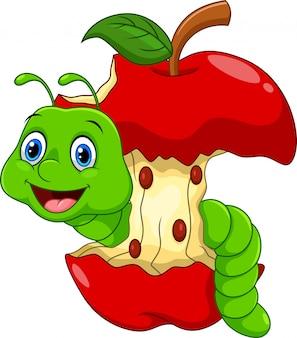Gusano de divertidos dibujos animados en la manzana