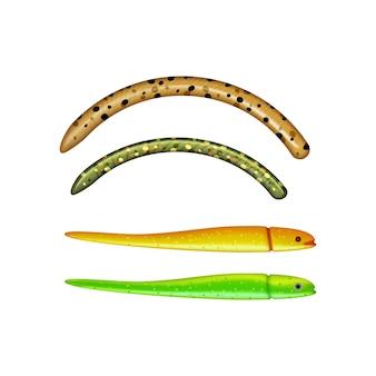 Gusanos de colores y cebos para peces ilustración realista aislada