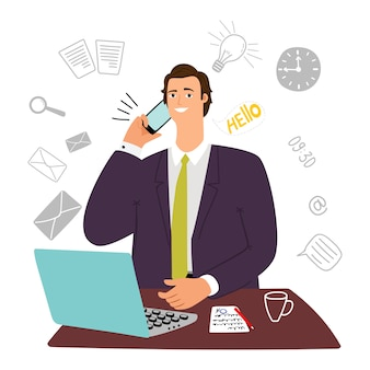 Guy manager, secretario, asistente de hombre de negocios con computadora portátil y teléfono